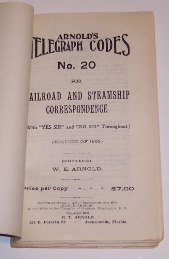 Arnold's Telegraph Codes No. 20